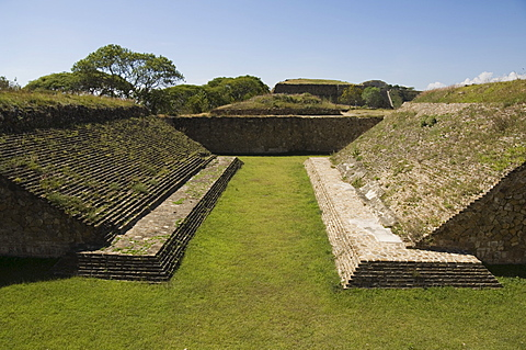 The ball court at the ancient Zapotec city of Monte Alban, near Oaxaca City, Oaxaca, Mexico, North America