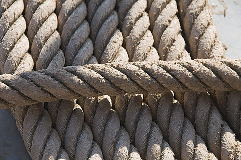 Coils of rope on boat deck