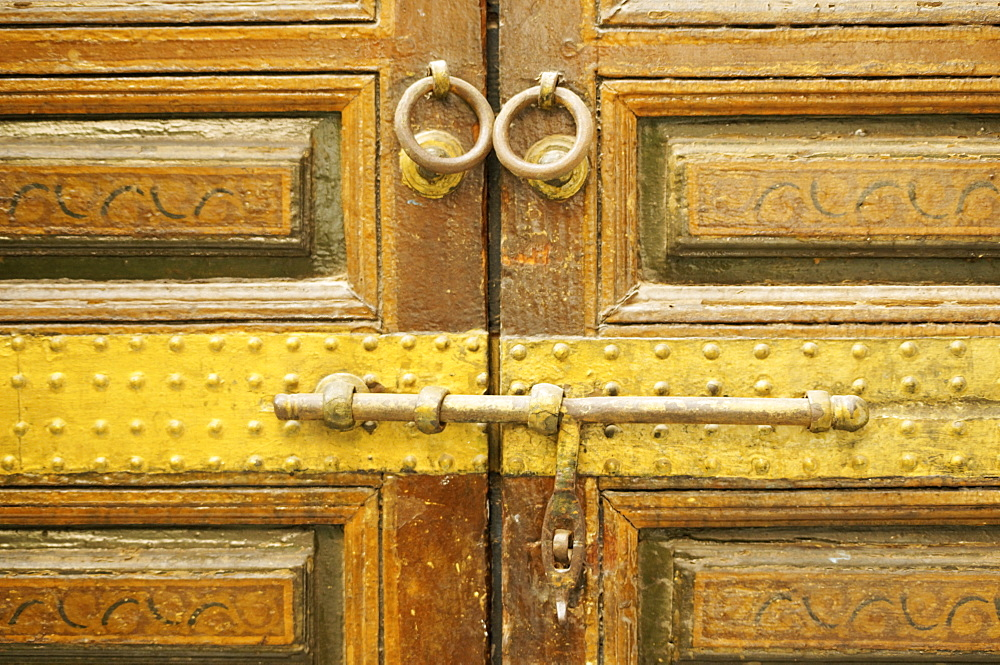 Detail of bolt on engraved wood decor in Alaouite palace of Dar Si Said, now the Museum of Moroccan Art, Marrakesh, Morocco, North Africa, Africa - 665-4956
