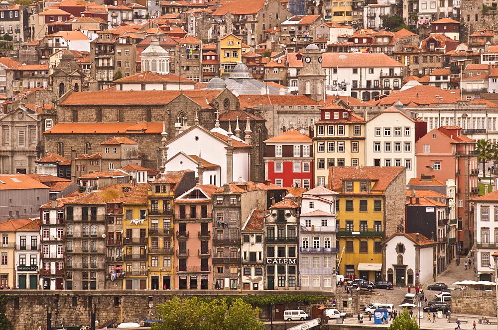 Vila Nova de Gaia seen from Ribeira quays, Oporto, Portugal, Europe
