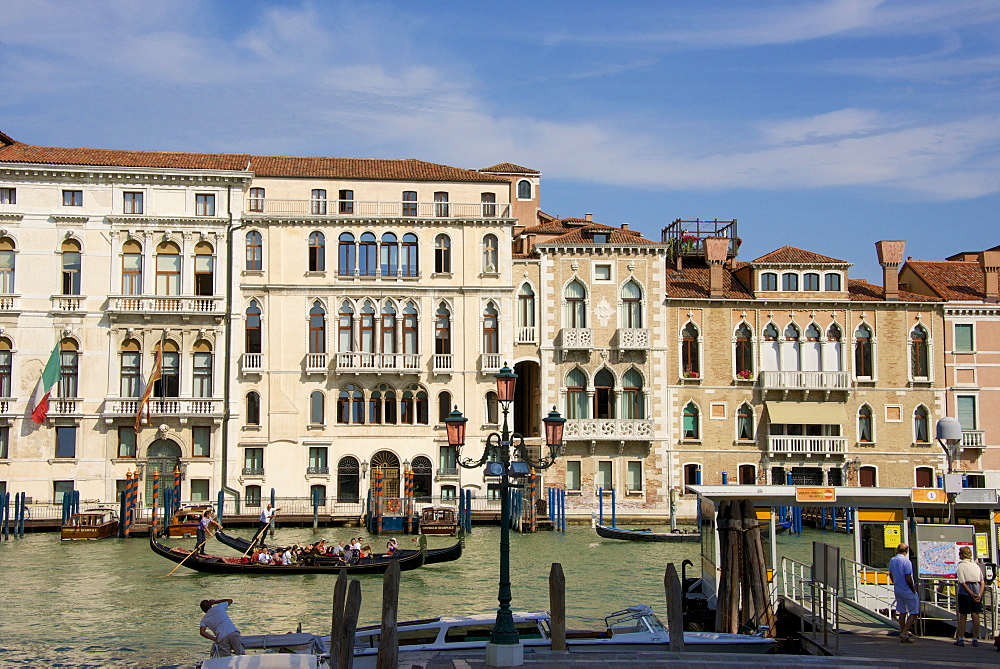 Palaces facades on Grand Canal and gondolas, Venice, UNESCO World Heritage Site, Veneto, Italy, Europe