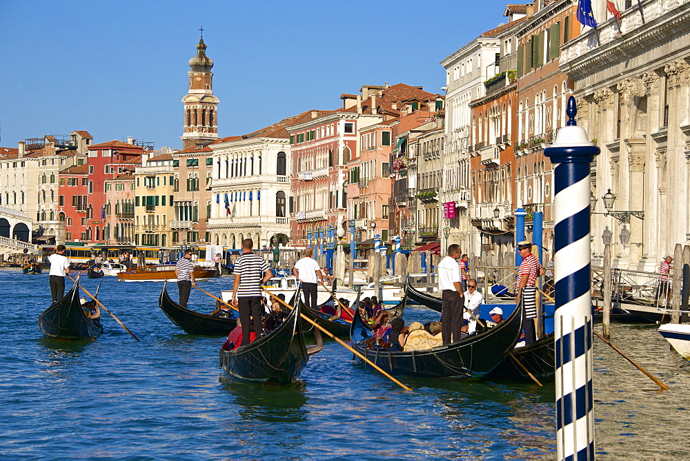 Gondolas and gondoliers, palaces facades and church steeple, Grand Canal, Venice, UNESCO World Heritage Site, Veneto, Italy, Europe - 665-5475