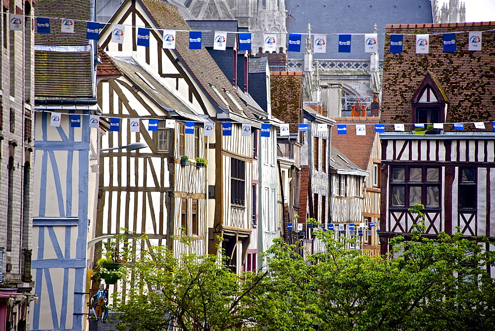 Half timbered Norman facades, Rouen, Normandy, France, Europe - 665-5514