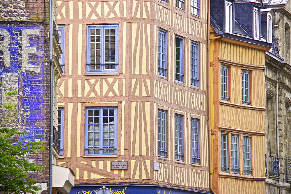 Half timbered Norman facades, Rouen, Normandy, France, Europe - 665-5515