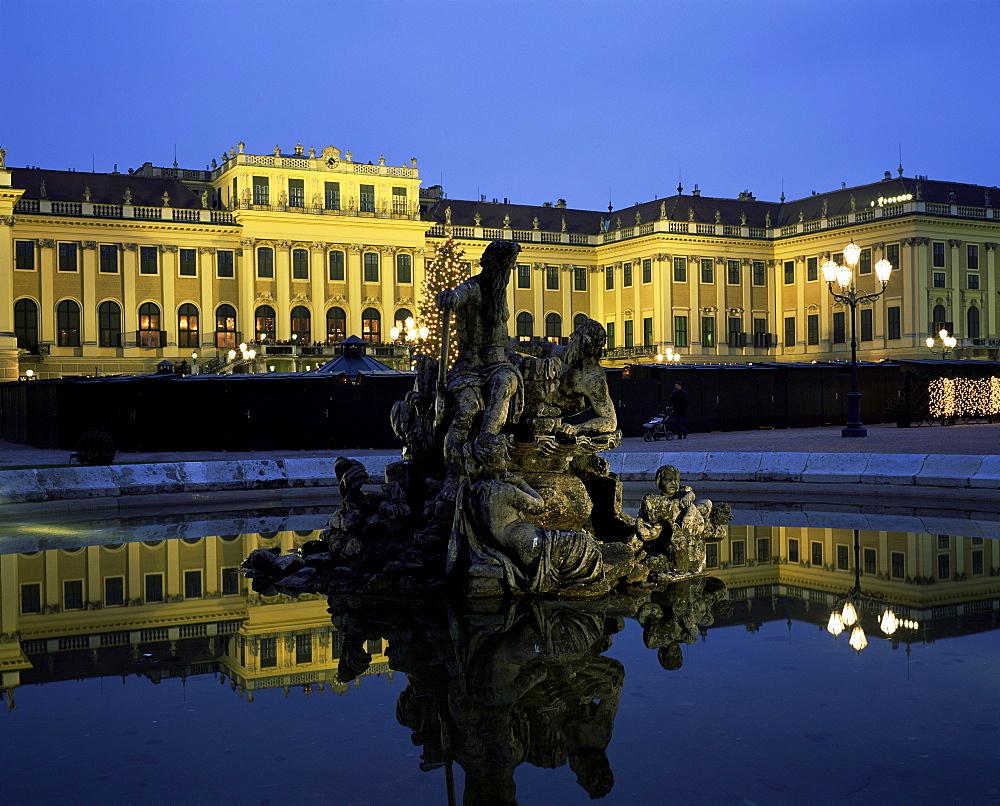 Schonbrunn Palace at dusk, UNESCO World Heritage Site, Vienna, Austria, Europe