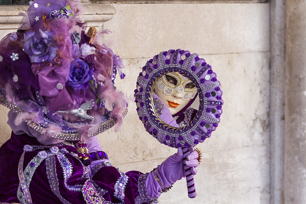 People in masks and costumes, Carnival, Venice, Veneto, Italy, Europe - 667-2583