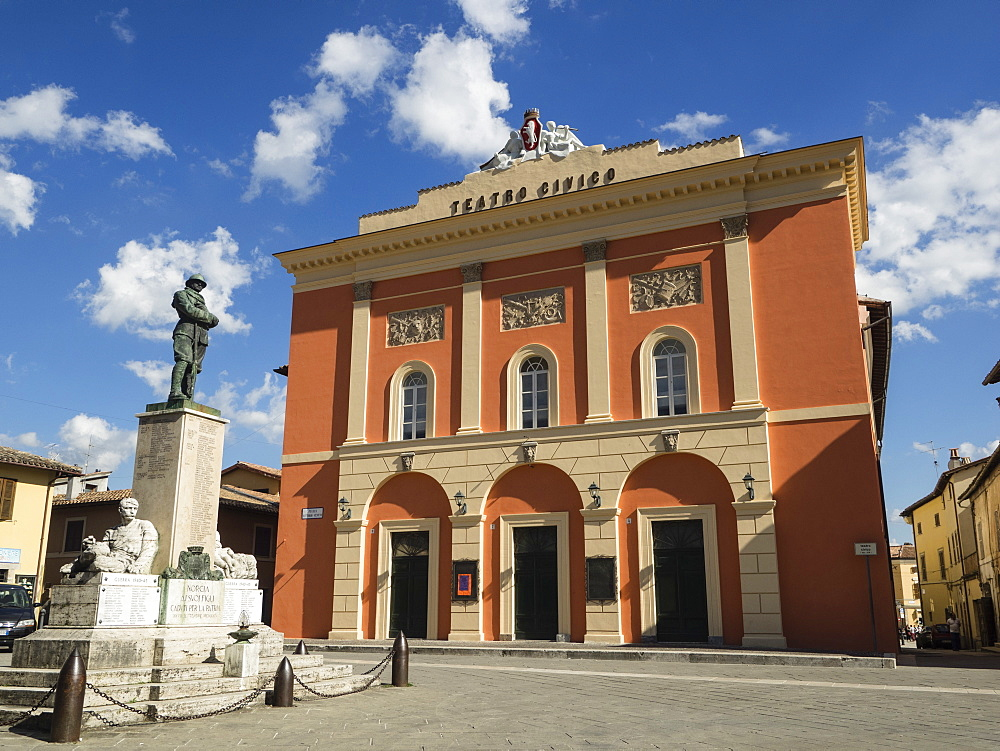 Civic Theatre, Piazza Vittorio Veneto, Norcia, Umbria, Italy, Europe
