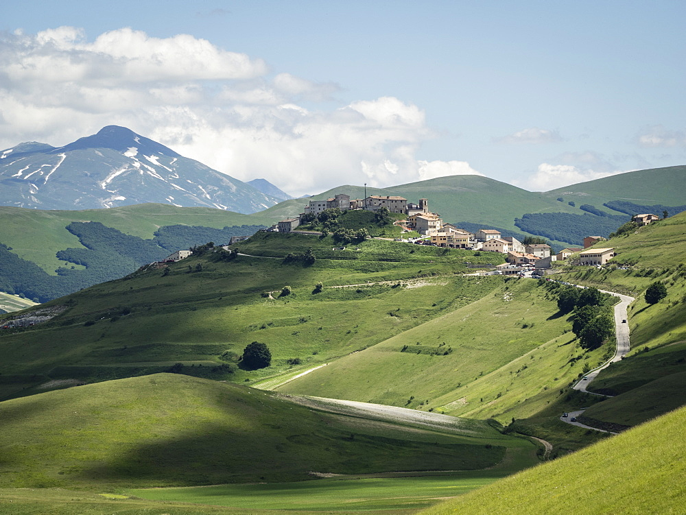 View from the Piano Grande towards Castelluccio, Umbria, Italy, Europe - 667-2597