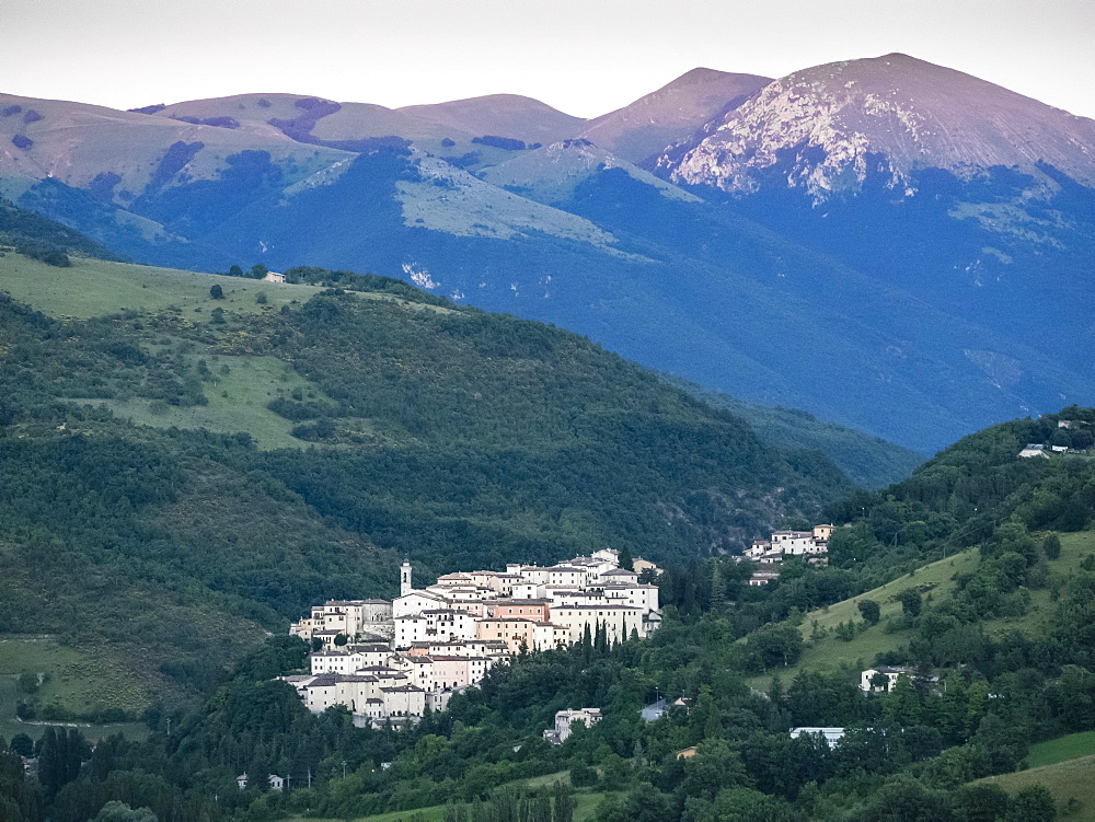 View at sunset, Village of Preci, Valnerina, Umbria, Italy, Europe - 667-2599