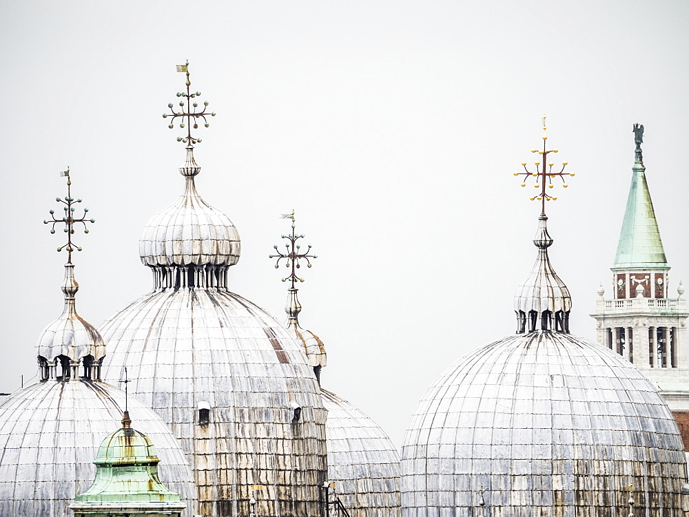 The domes of the Basilica in St. Mark's Square, Venice, UNESCO World Heritage Site, Veneto, Italy, Europe