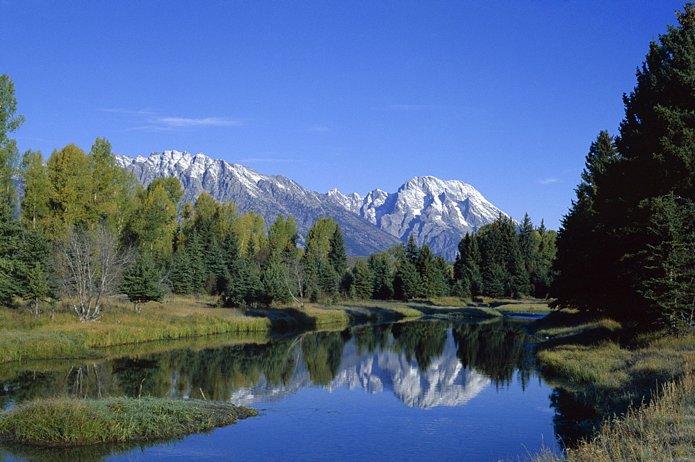 Teton mountains looking towards Schwabacher's Landing, Grand Teton National Park, Wyoming, United States of America (U.S.A.), North America