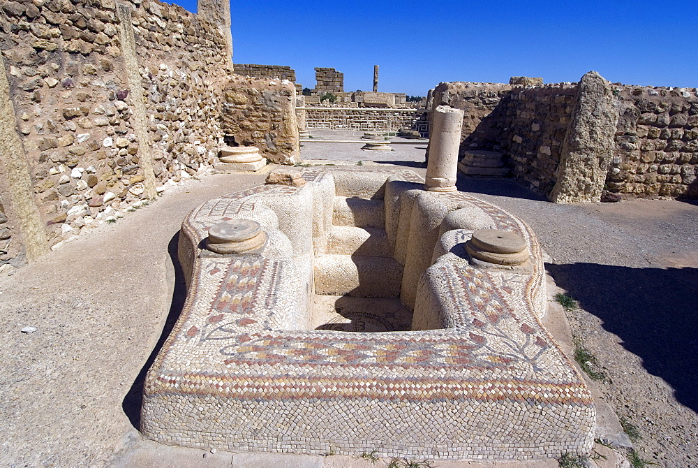 Baptismal fonts, Roman ruin of Sbeitla, Tunisia, North Africa, Africa