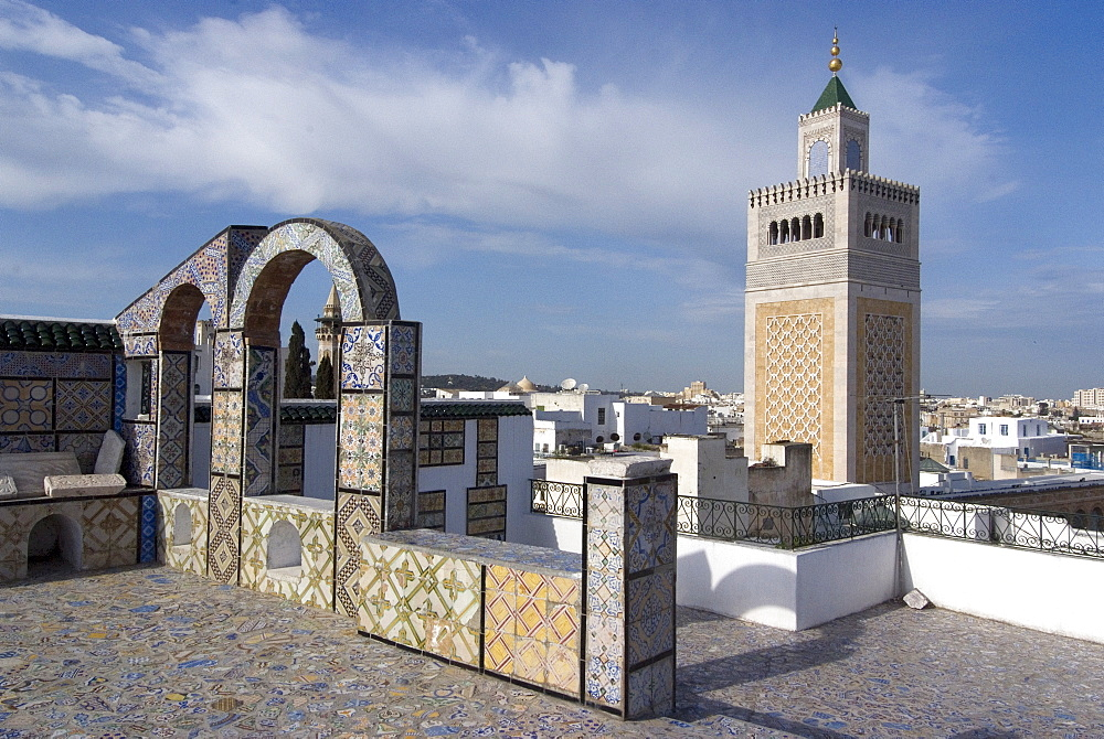 View over the Medina of Tunis towards the main mosque, Tunisia, North Africa, Africa