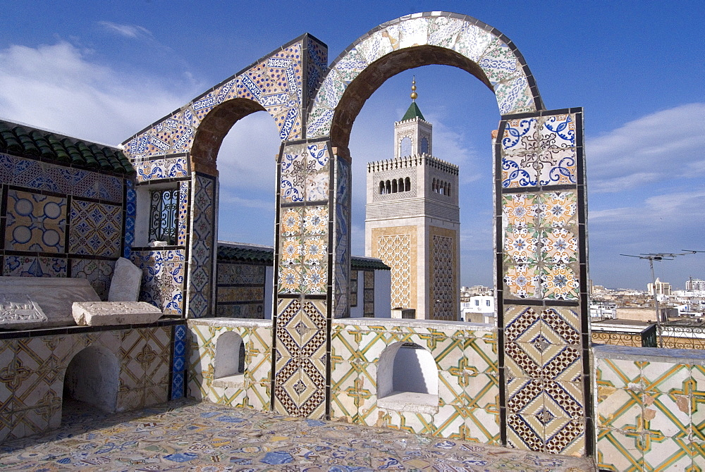 View over the Medina of Tunis and the main mosque, Tunisia, North Africa, Africa
