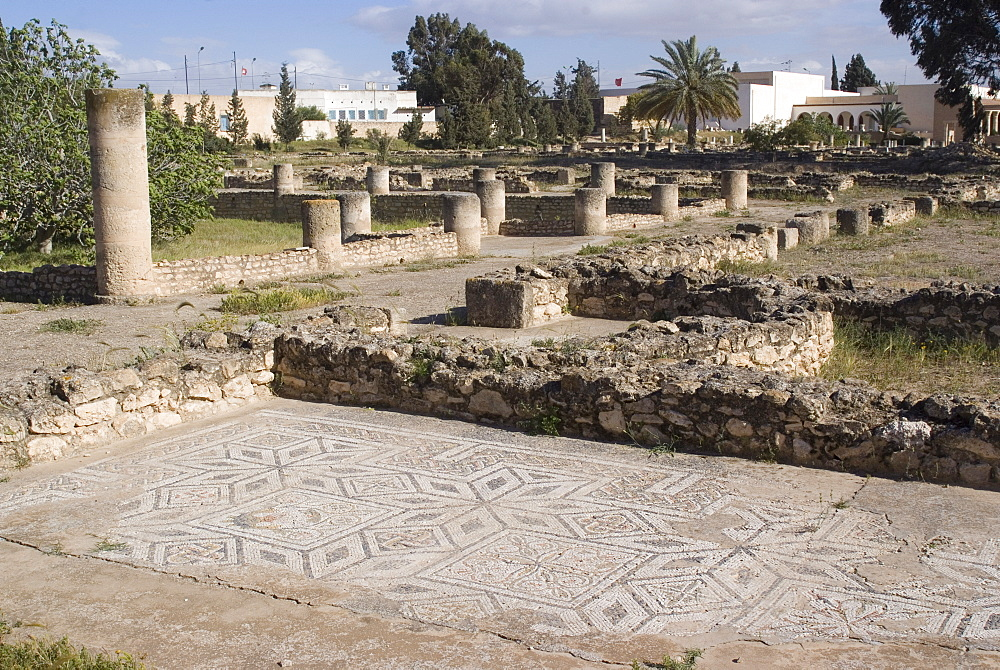Remains of the House of Africa Roman villa, Museum, El Djem, UNESCO World Heritage Site, Tunisia, North Africa, Africa