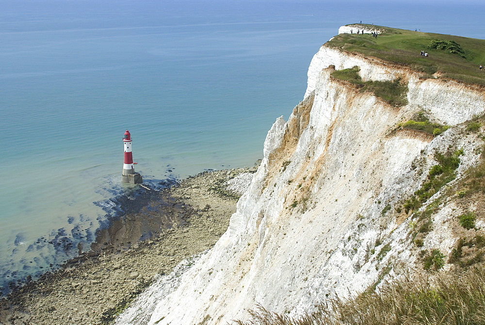 White chalk cliff and lighthouse, Beachy Head, Sussex, England, United Kingdom, Europe