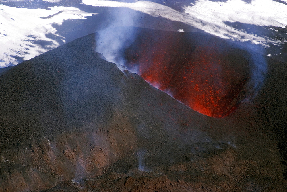 Looking into the cinder cone of erupting Eyjafjallajokull volcano, Iceland, Polar Regions