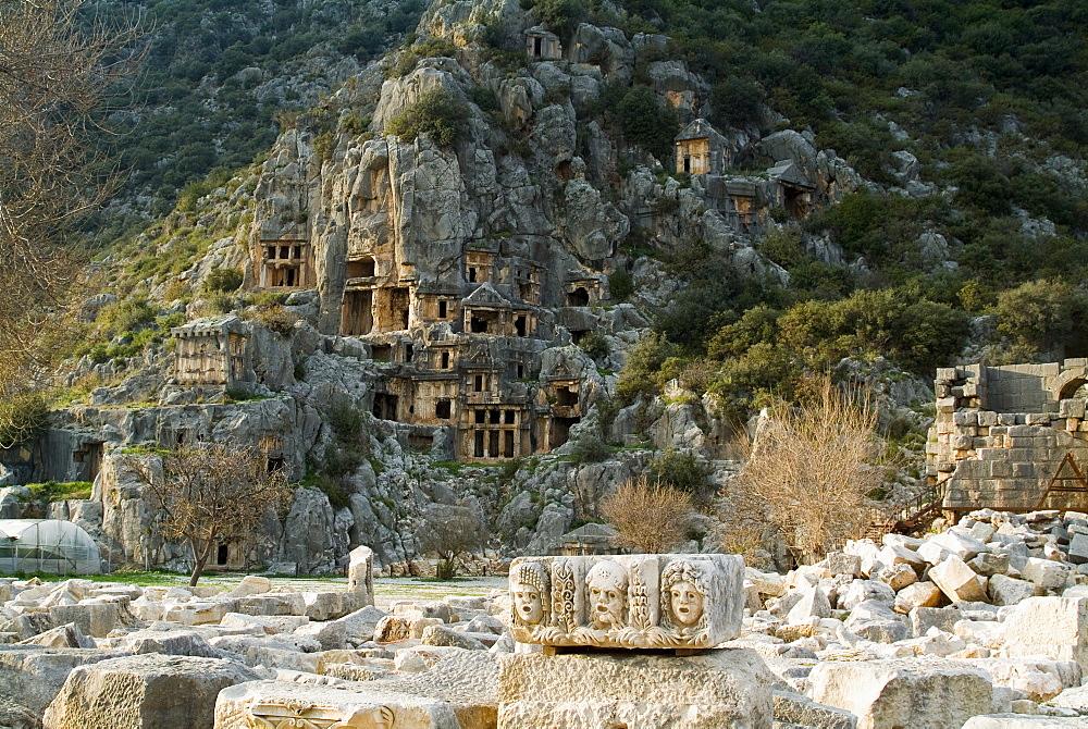 Greco-Roman carved tombs, Myra, Anatolia, Turkey, Asia Minor, Eurasia