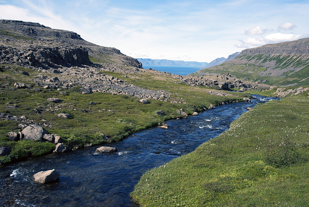 River flowing into the fjord, in the West Fjords, Iceland, Polar Regions - 685-2630