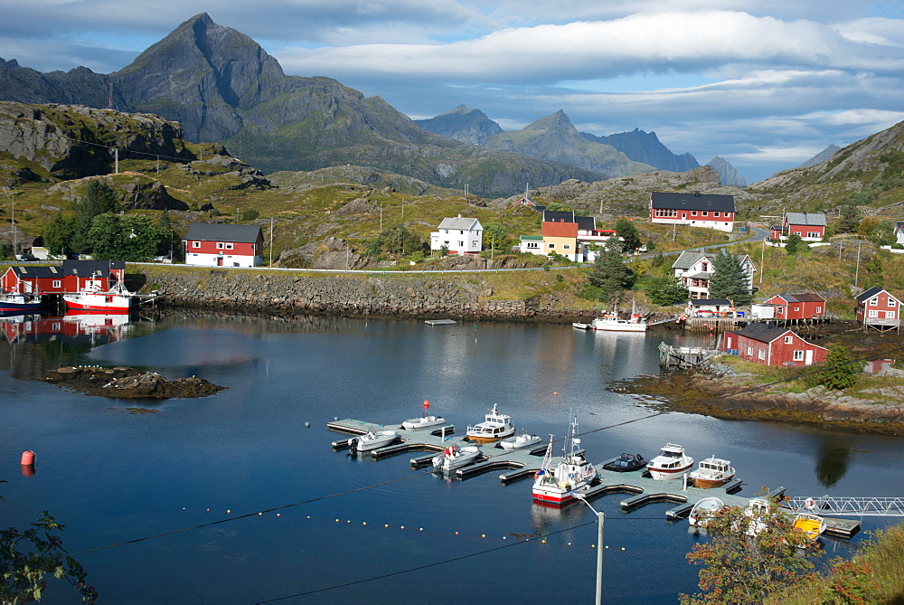 View of Sund Harbour, Lofoten Islands, Nordland, Norway, Scandinavia, Europe - 685-2688
