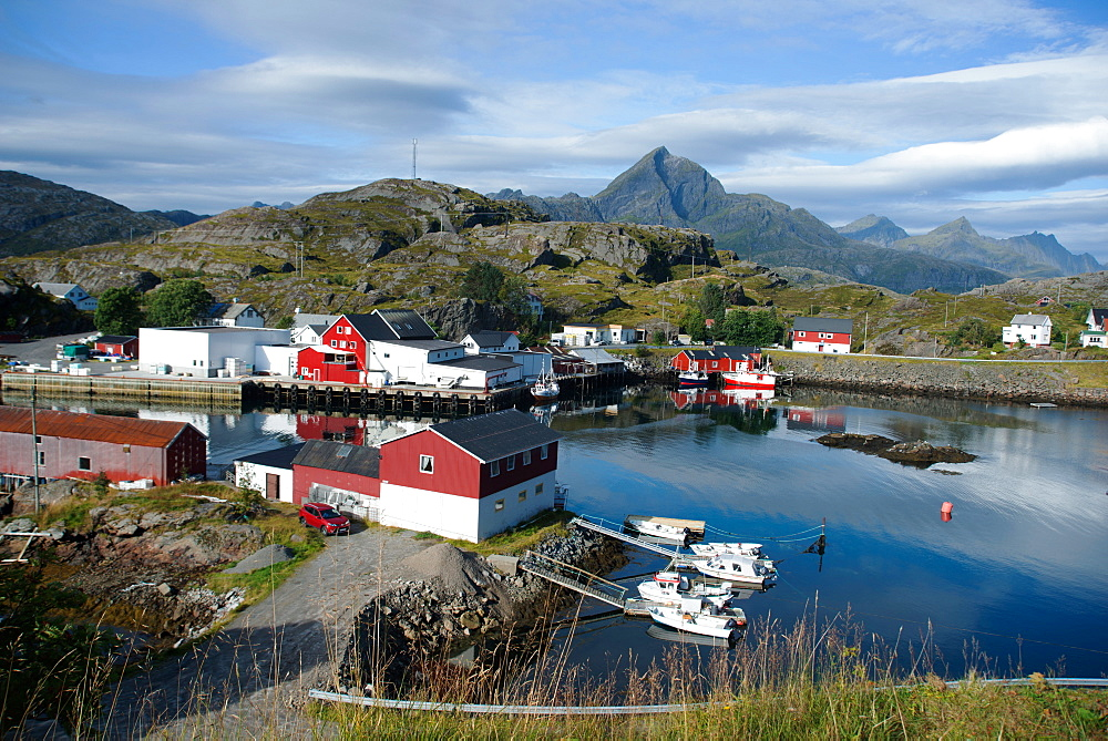 View of Sund Harbour, Lofoten Islands, Nordland, Norway, Scandinavia, Europe - 685-2689