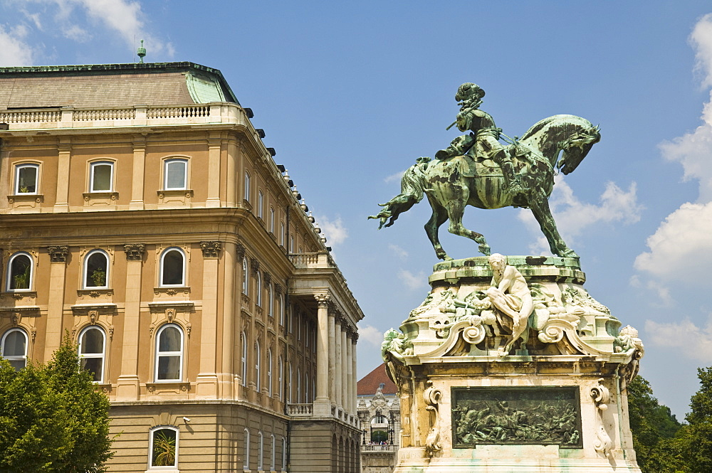 Equestrian statue of Prince Eugene of Savoy outside the Hungarian National Gallery, part of the royal palace, Buda castle, Castle district, Budapest, Hungary, Europe