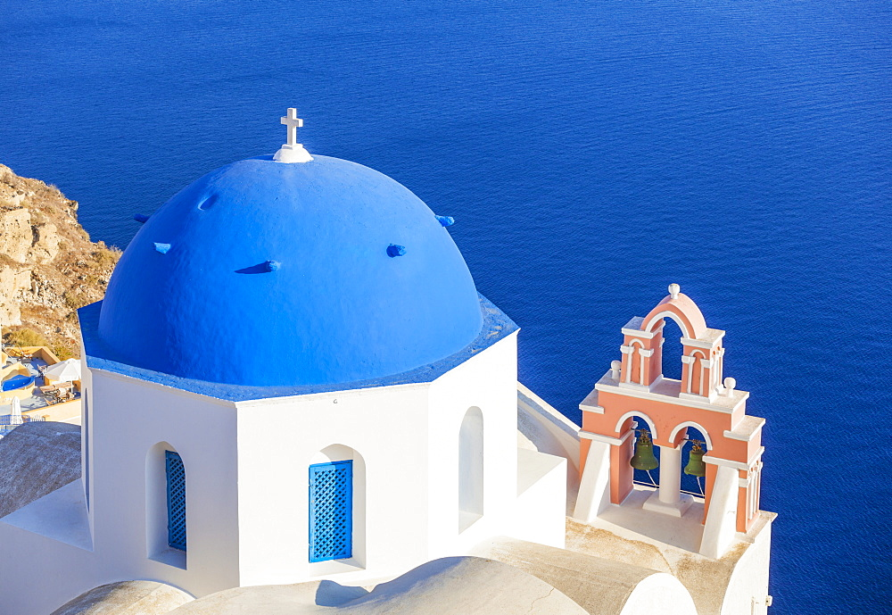 Greek church with blue dome and pink bell tower, Oia, Santorini (Thira), Cyclades Islands, Greek Islands, Greece, Europe - 698-3063