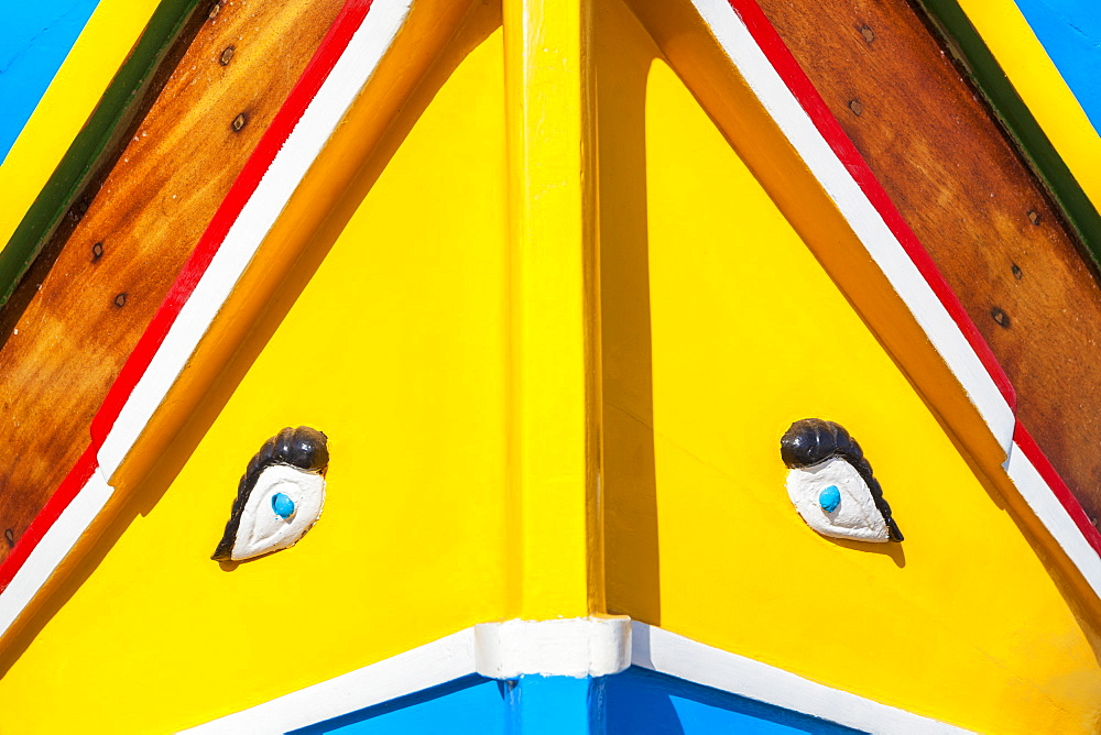 Eye of Horus painted on traditional Malta fishing boat, Marsaxlokk, Malta, Mediterranean, Europe