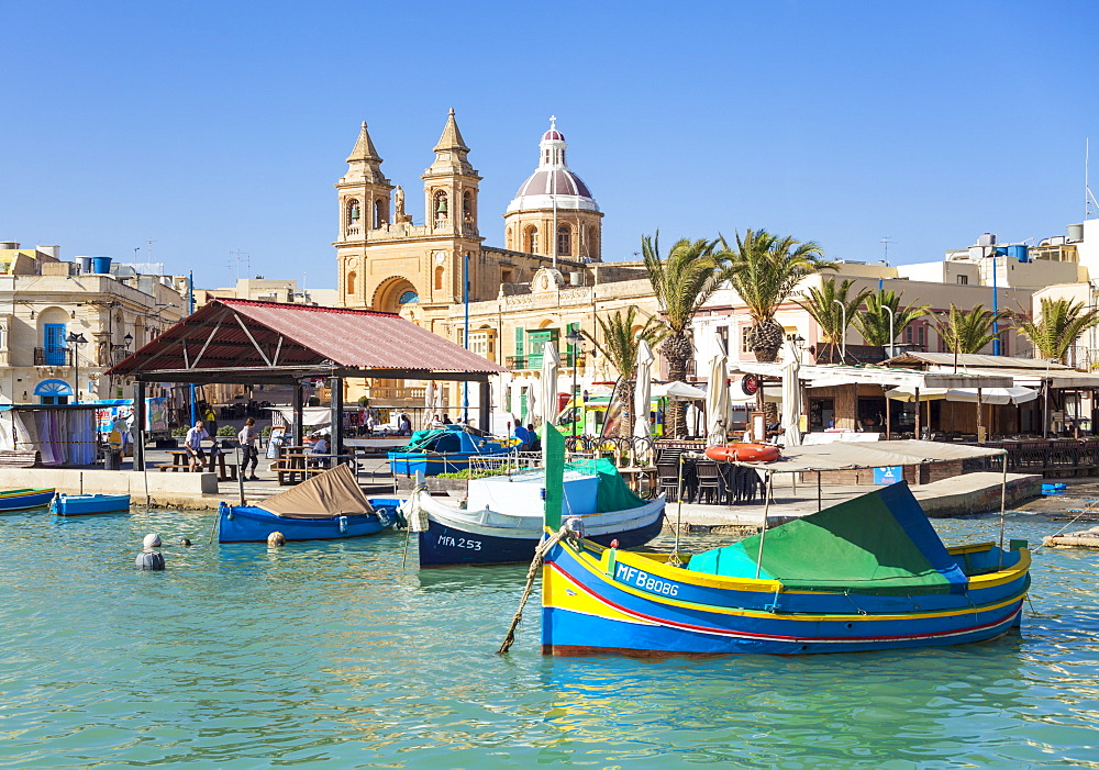 Marsaxlokk Harbour, Our Lady of Pompeii Church and traditional fishing boats, Marsaxlokk, Malta, Mediterranean, Europe