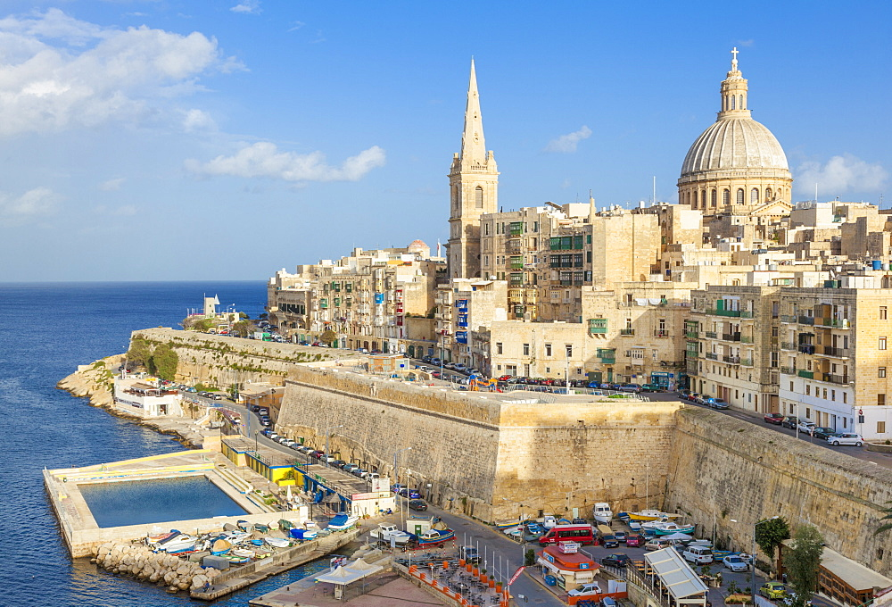 Valletta skyline with the dome of the Carmelite Church and St. Pauls Anglican Cathedral, Valletta, Malta, Mediterranean, Europe