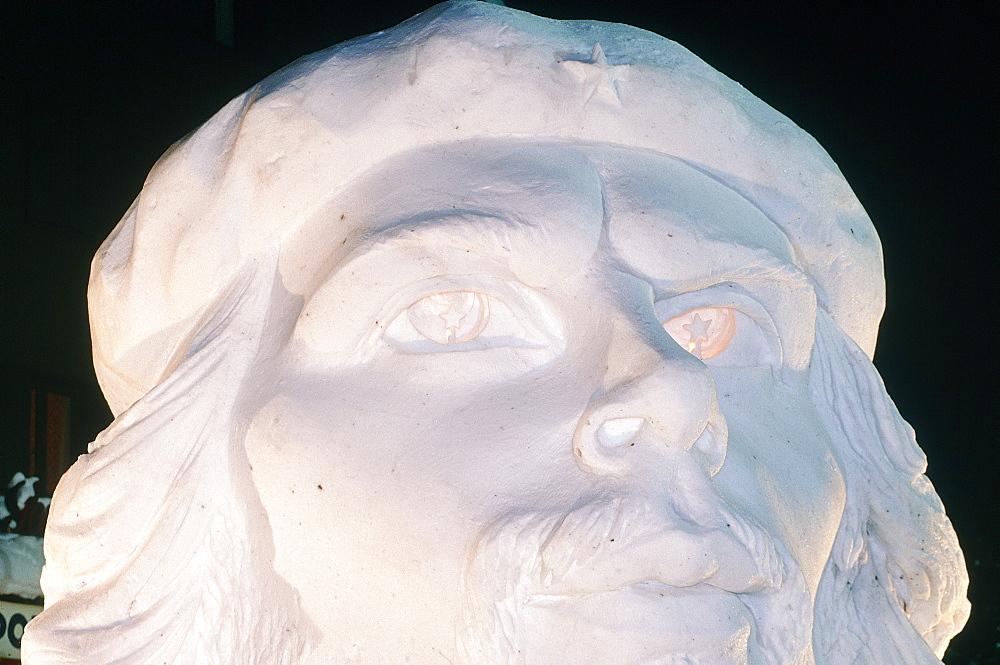 France, Alps, Savoie, Valloire In Winter, The Snow & Ice Sculptures International Contest, Huge Sculpture Representing Che Guevara