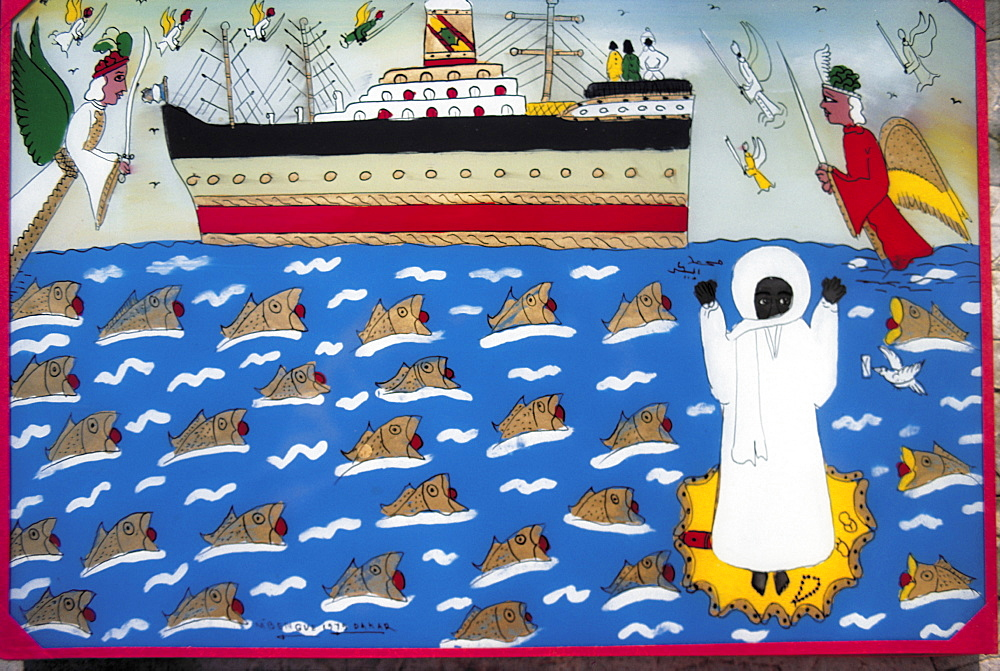 Senegal, Dakar, Senegal, Pikine, A Souwere (Painting On Glass) By Goran Mbengue Representing A Miracle At Sea By Mouride Prophet Amadou Bamba