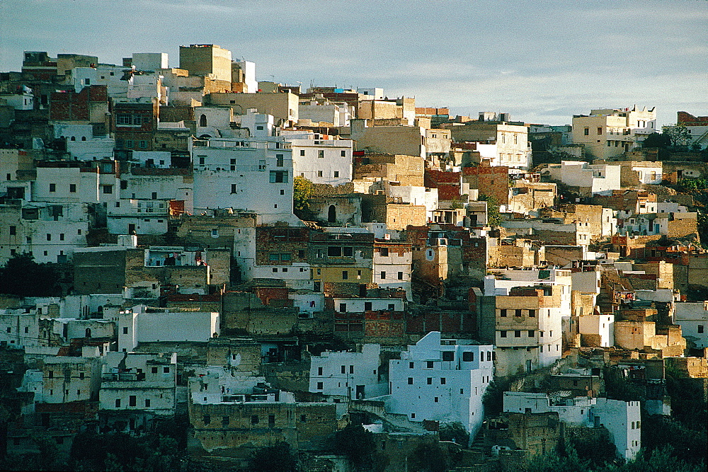 Morocco, North, Overview On The Holy Village Of Moulay Idriss Near Volubilis Roman Ruins