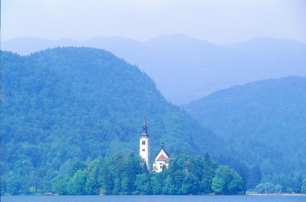 Slovenia, The Julian Alps, Bled Lake (Alt 501m) And The Church Of Vows On An Island