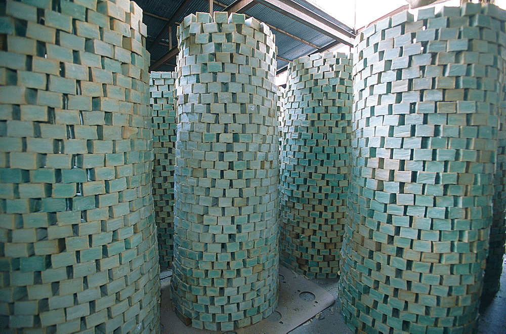 Syria, Aleppo, Within An Olive Oil Soap Factory Stacks Of Freshly Made Soap Drying