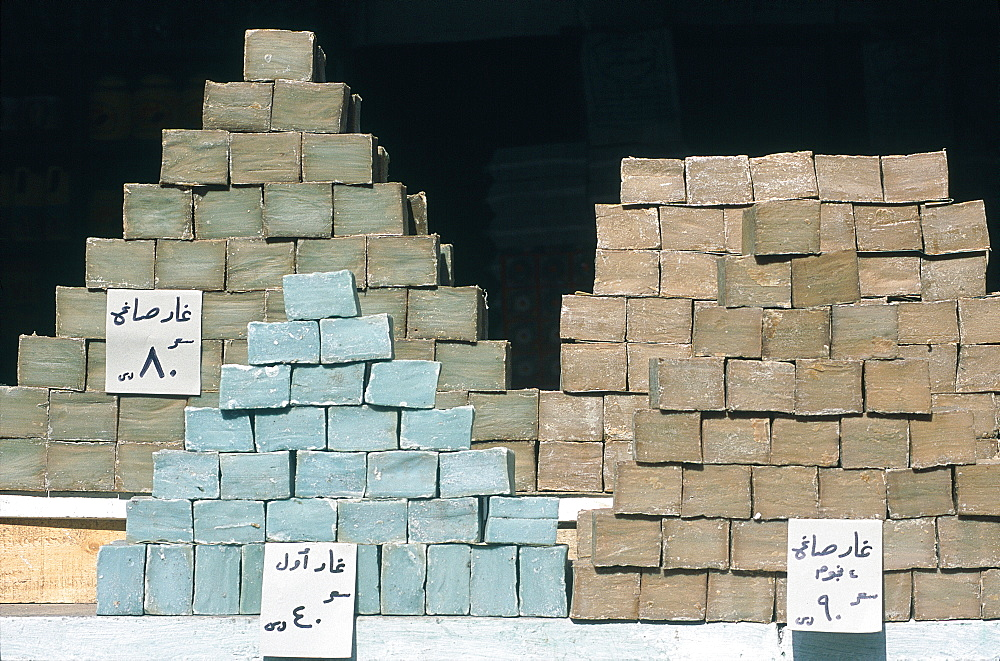 Syria, Aleppo, Souks (Market), Stacks Of Fresh Locally Made Soap For Sale