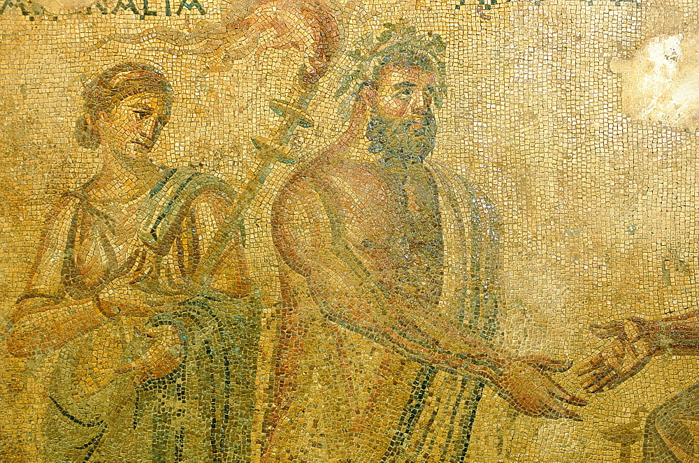 Syria, Orontes Valley, Apamea, The Museum Established In A Turkish Khan (Caravanserai),  Detail Of A Roman Mosaic That Was Found In The Apamea Cardo Ruins