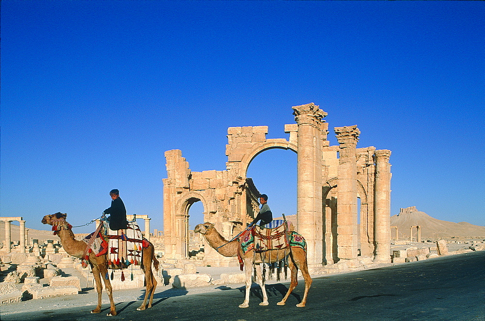 Syria, Palmyra Oasis, The Roman Ruins, Gate Entering The 1200m Long Colonnade Edging The Cardo (Main Road In The Roman City)