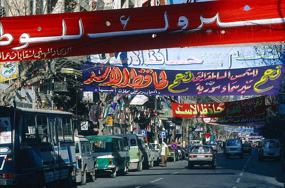 Syria, Damascus, Presidential Elections Day, The Main Street Is Decorated With Banners For The Unique Candidate