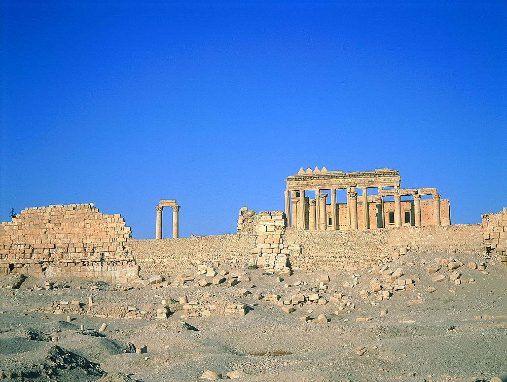 Syria, Palmyra Oasis In The Desert, The Temple Of Bel In A Desert Environment