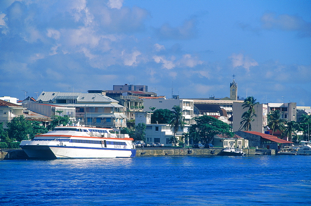 French West Indies, Guadeloupe, Town Of Pointe A Pitre Seen From The Sea