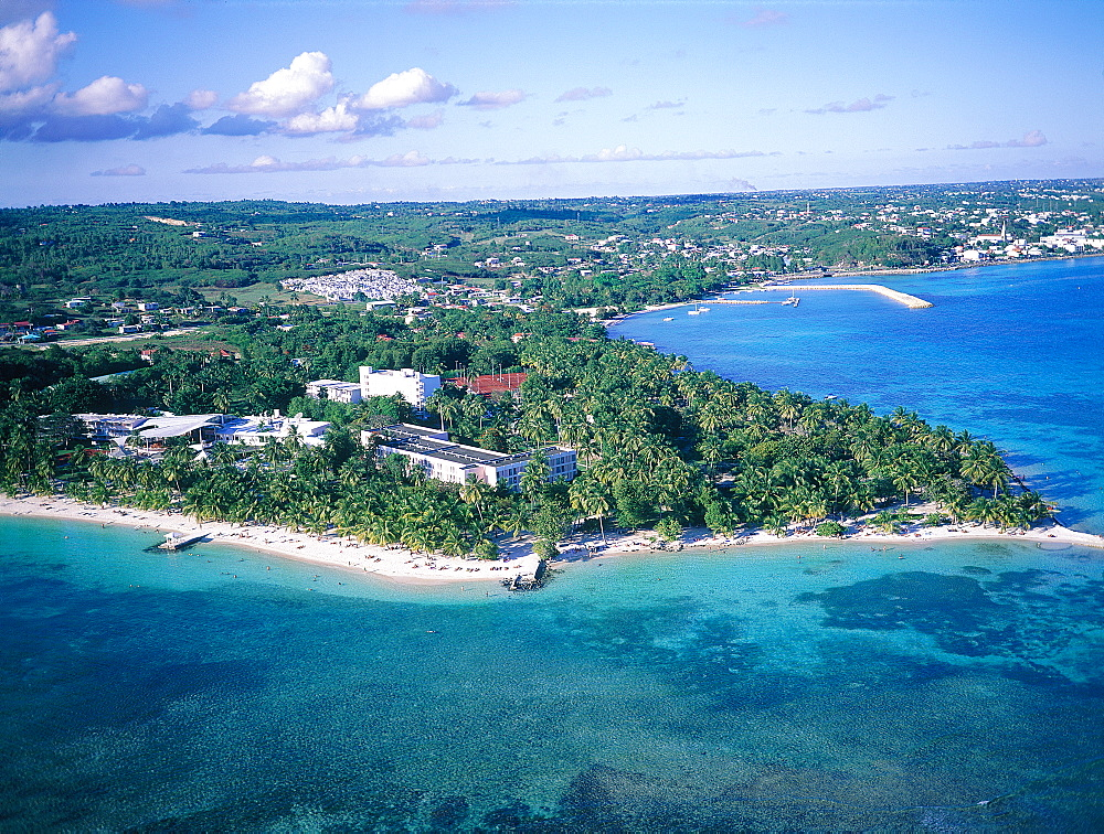French West Indies, Guadeloupe, Gosier , Aerial Of The Shoreline And Hotels