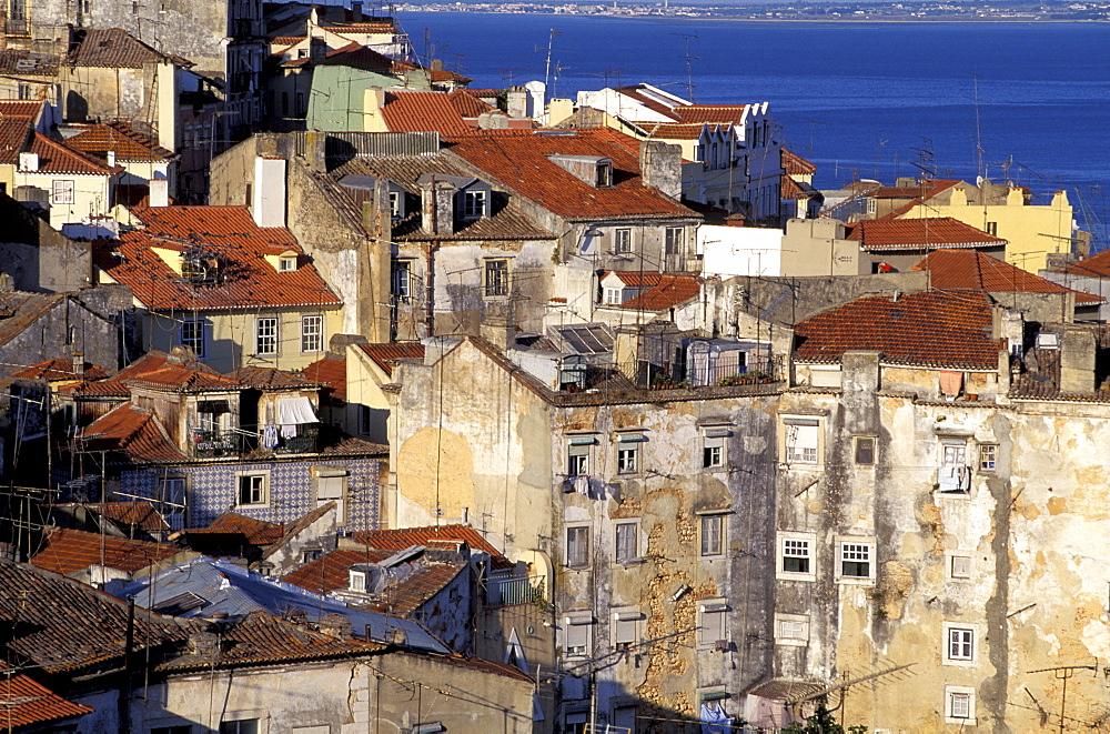 Portugal, Lisbon, Overview On The City (Alfama) From St Georges Castle  Road (Castello Sao Jorge),