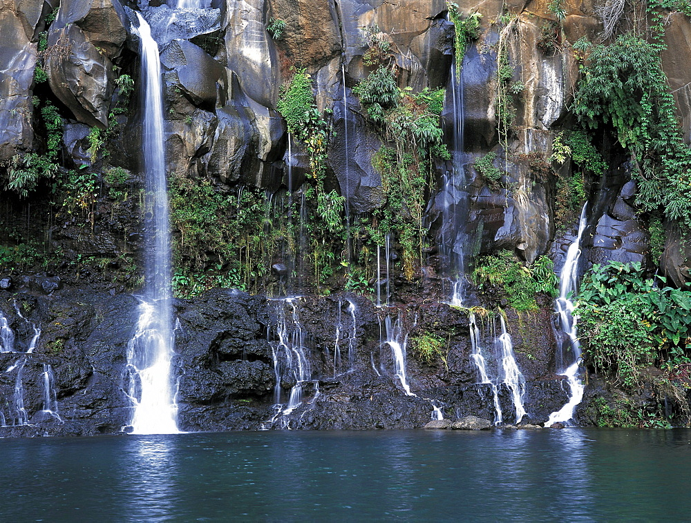 Cascading waterfall in St-Gilles les Hauts, Reunion Island, French Departement, Indian Ocean, Africa