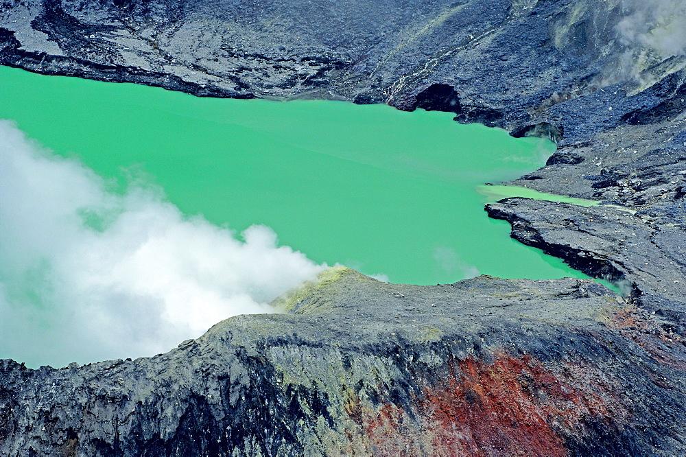 The crater lake. Volcano Poas Volcano Park, Costa Rica, Central America