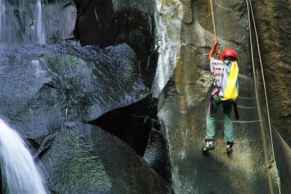 Canyoning At Les Aigrettes Waterfall, Reunion