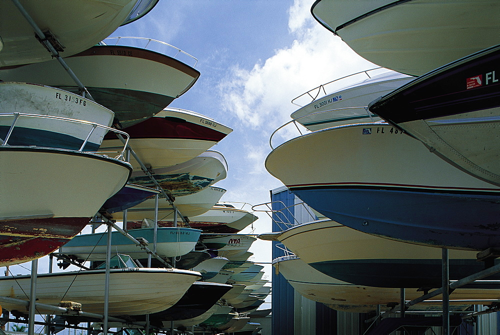 Boats Parking Lot, Key Largo, Florida, Usa