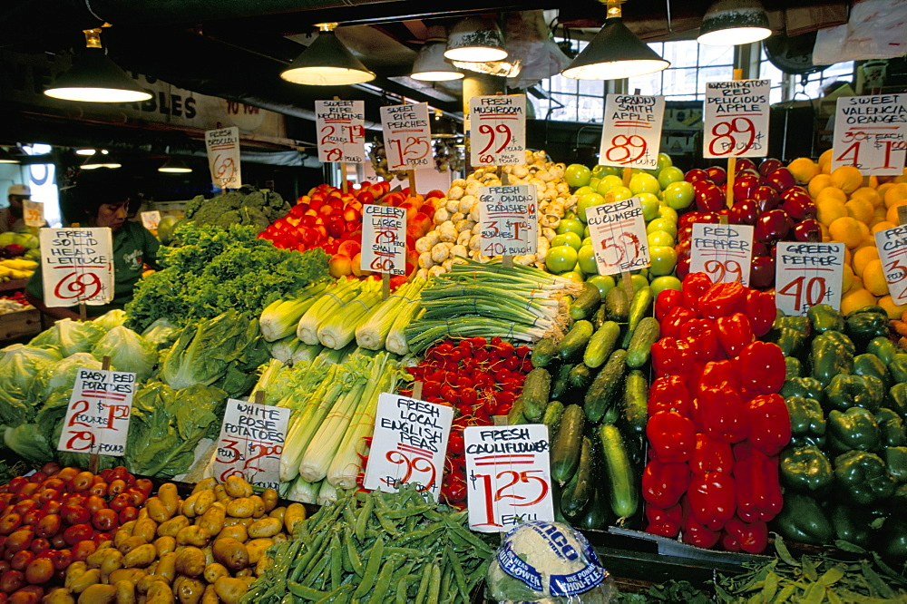 Fruit and vegetable stall, market, Seattle, Washington state, United States of America, North America