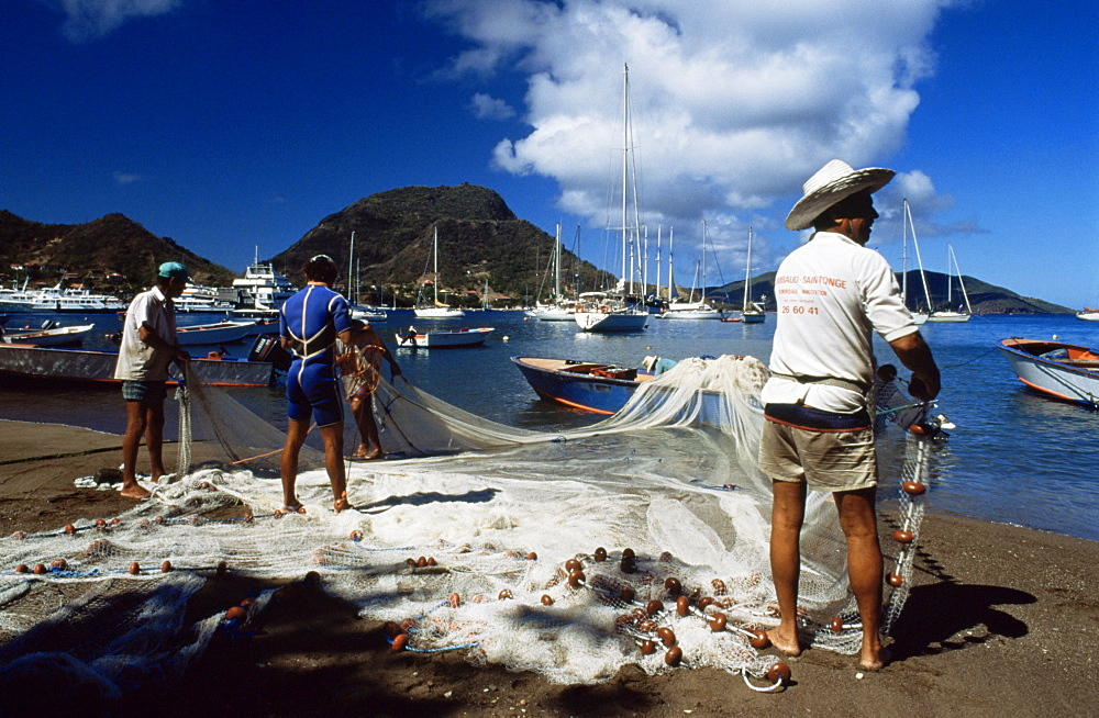 Fishermen with their nets, Guadeloupe, French Antilles, West Indies, Central America