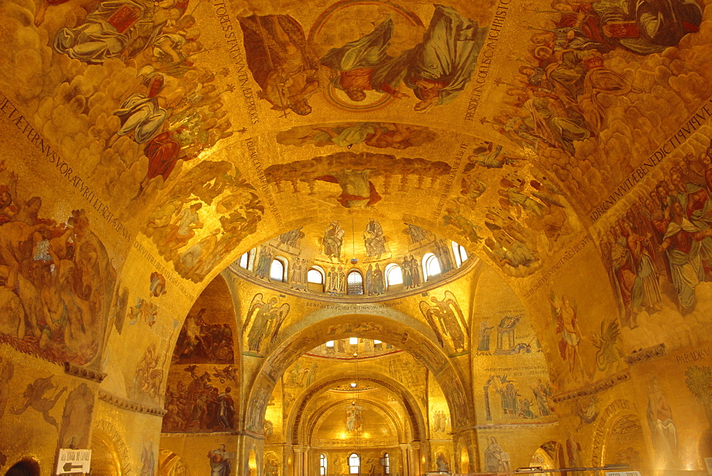 The ceiling of St. Mark's Basilica, Venice, Veneto, Italy, Europe